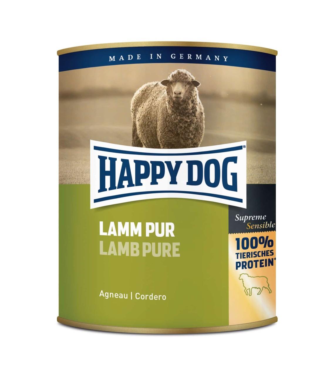 6 x 800g Happy Dog Dose Lamm Pur getreidefrei 100% tierisches Protein