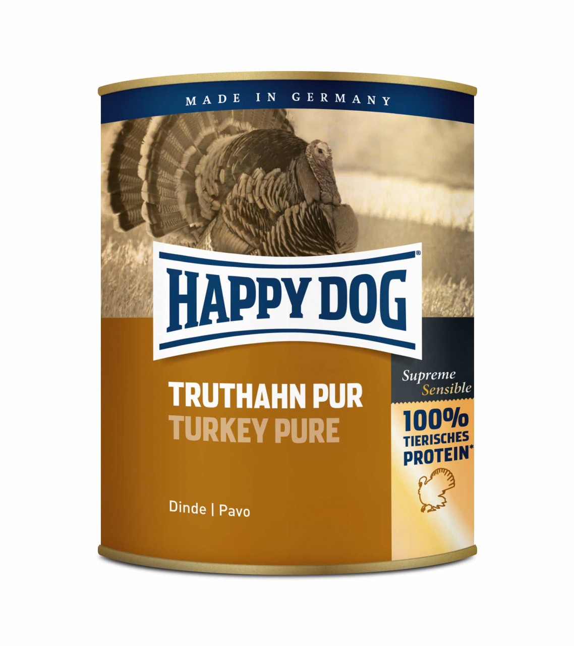6 x 800g Dose Happy Dog Truthahn Pur getreidefrei 100% tierisches Protein