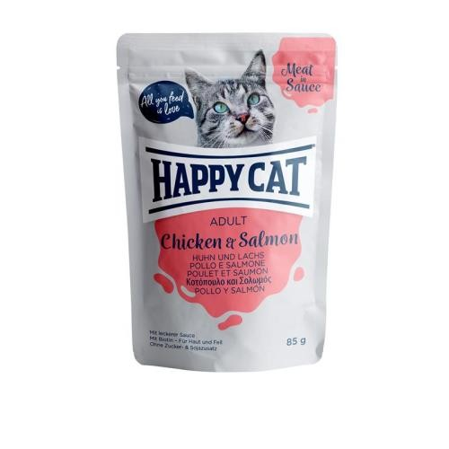 24 x 85g Happy Cat Pouches Meat in Sauce Adult Huhn & Lachs