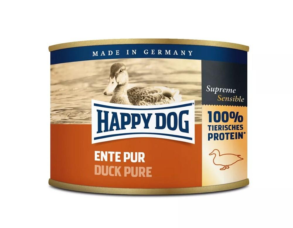 12 x 200g Dose Happy Dog Ente Pur getreidefrei 100% tierisches Protein