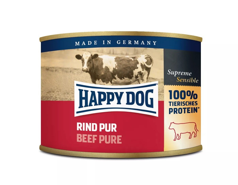 12 x 200g Dose Happy Dog Rind Pur getreidefrei 100% tierisches Protein