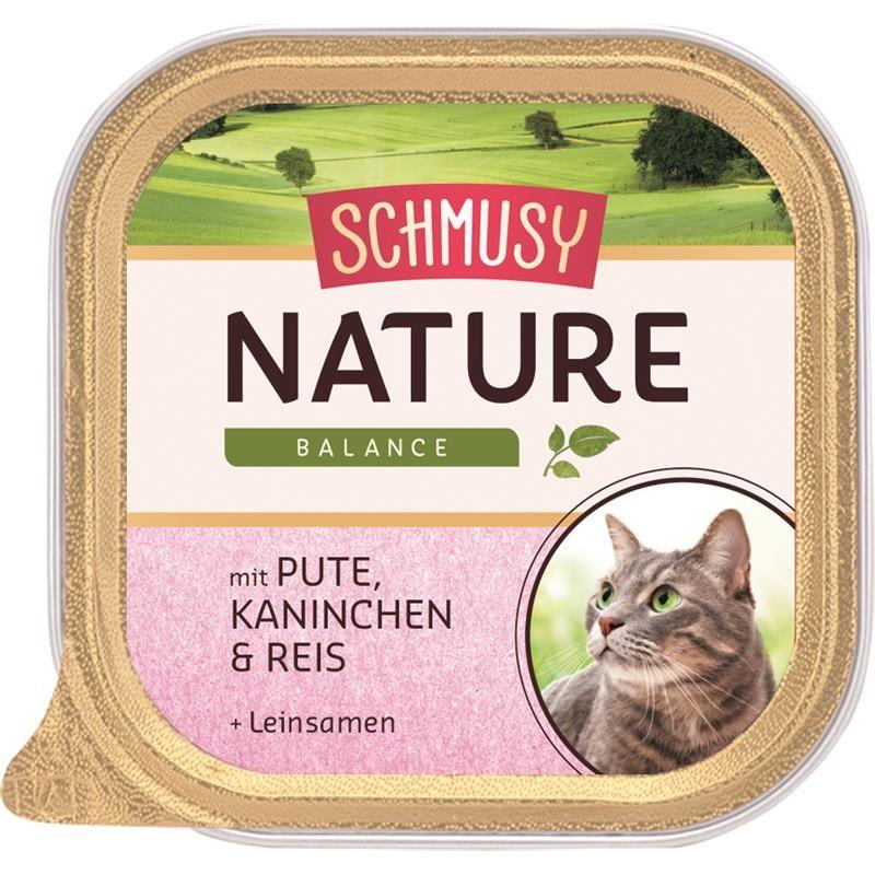 Schmusy Nature Balance Schale Pute & Kaninchen 16 x 100g Katzenfutter nass