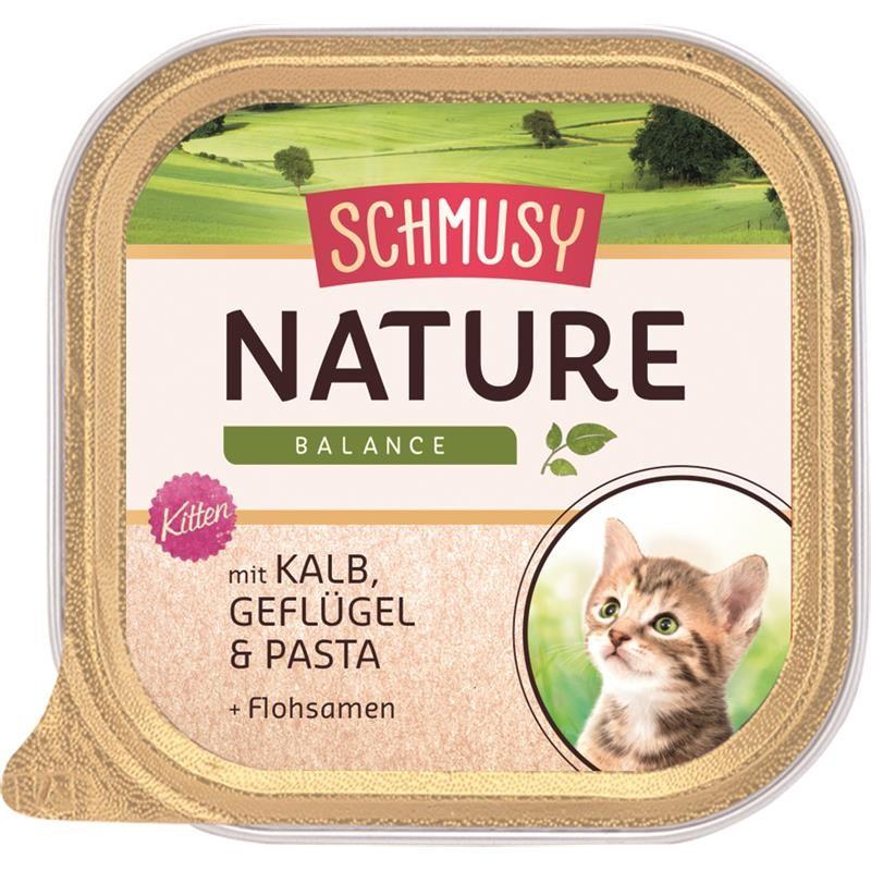 Schmusy Nature Balance Schale Kitten Kalb & Geflügel 16 x 100g Katzenfutter nass