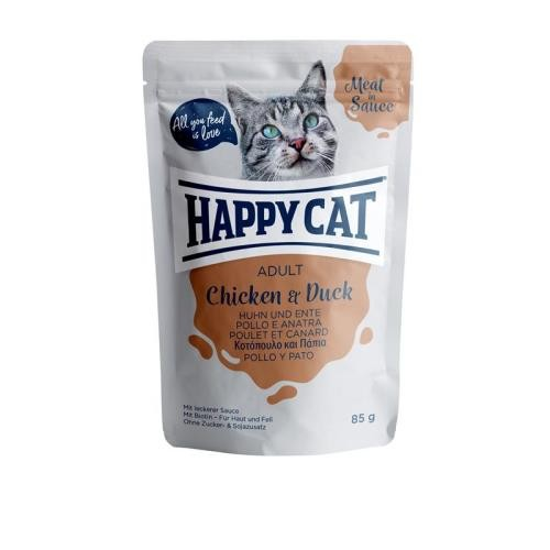 24 x 85g Happy Cat Pouches Meat in Sauce Adult Huhn & Ente