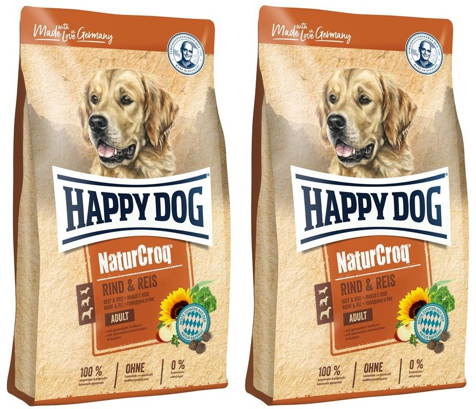2 x 15 kg Happy Dog NaturCroq Rind & Reis