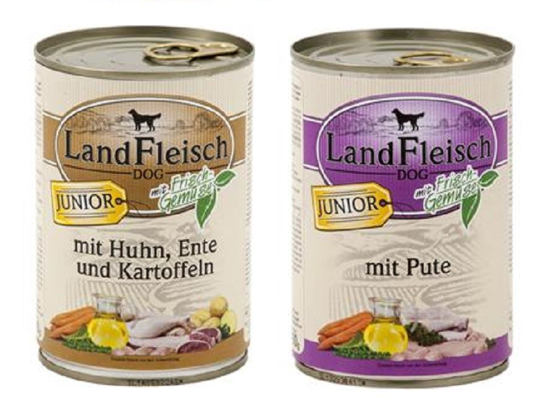 Landfleisch Dog Junior 24 x 400g Dosen gemischt Nassfutter