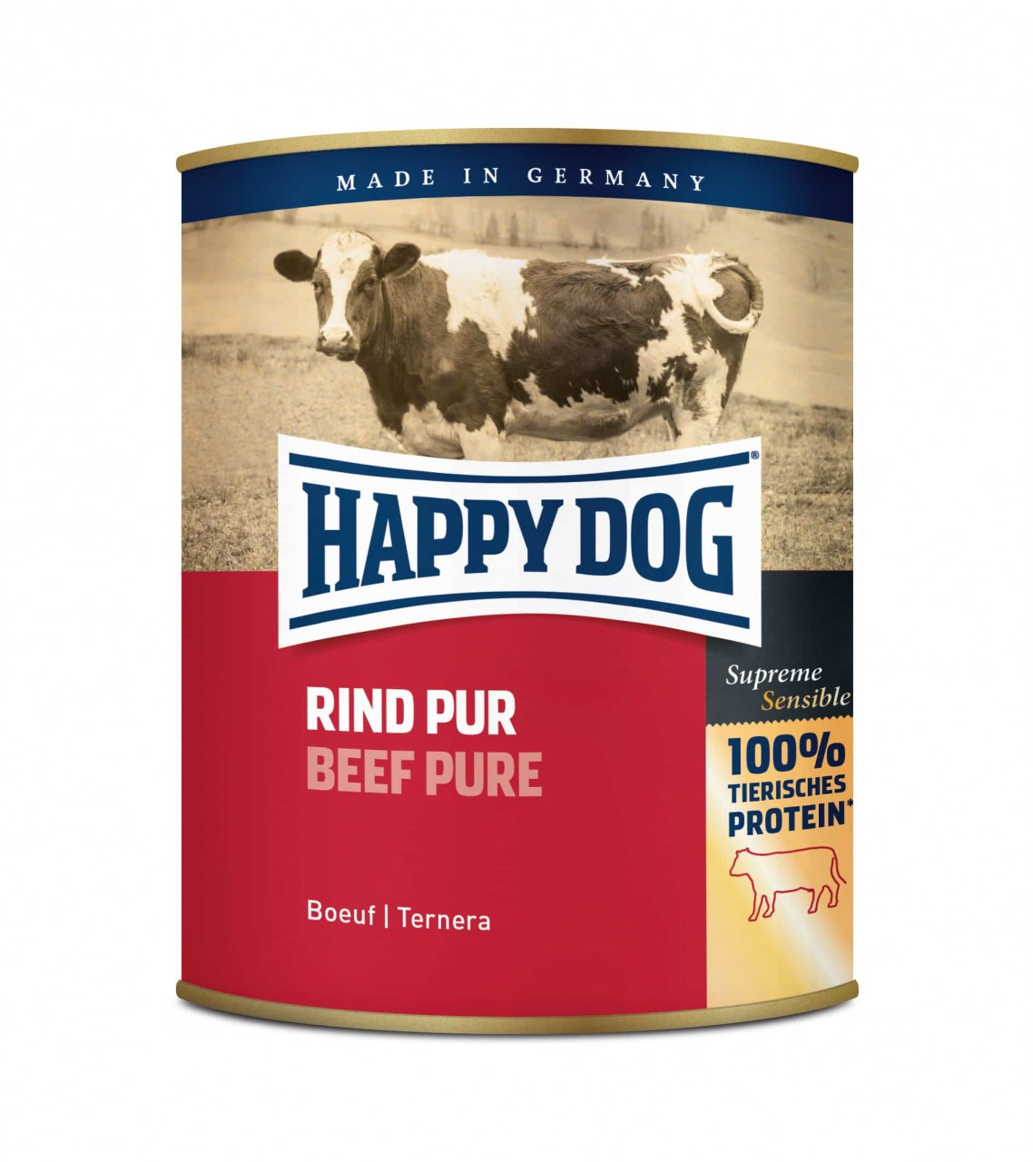 6 x 800g Happy Dog Dose Rind Pur getreidefrei 100% tierisches Protein