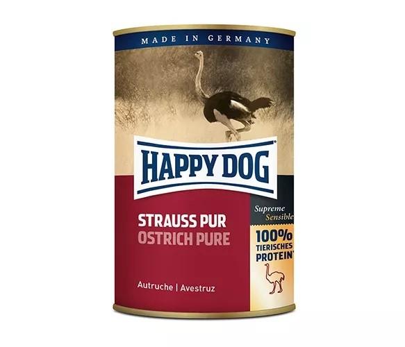 12 x 400g Dose Happy Dog Strauß Pur getreidefrei 100% tierisches Protein