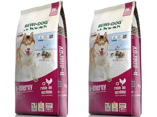 Bewi Dog H-Energy 2 x 25 kg + 600 g Agility Snack extra
