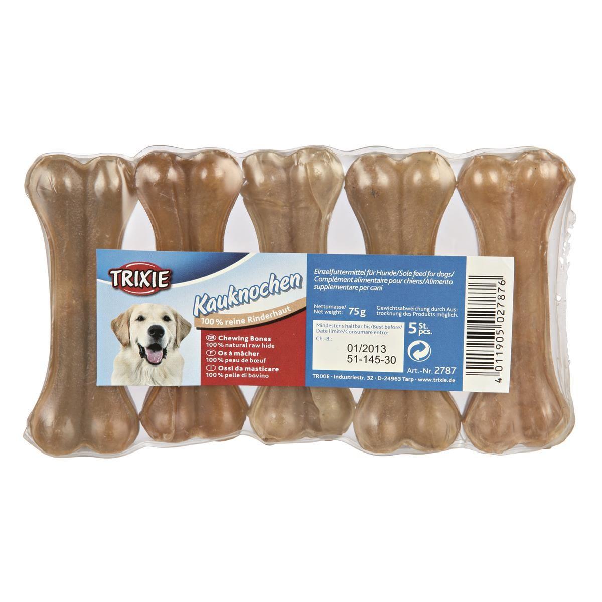 Trixie Dog 100 Kauknochen ca. 8 cm je 15g Rinderhaut gepresst Kausnack