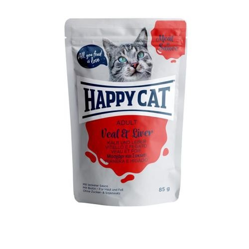 24 x 85g Happy Cat Pouches Meat in Sauce Adult Kalb & Leber