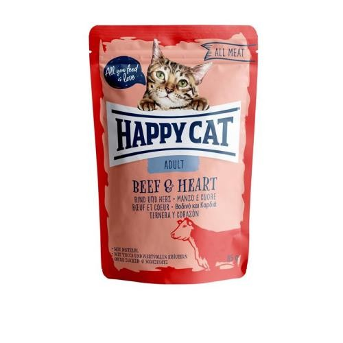 24 x 85g Happy Cat Pouches All Meat Adult Rind & Herz