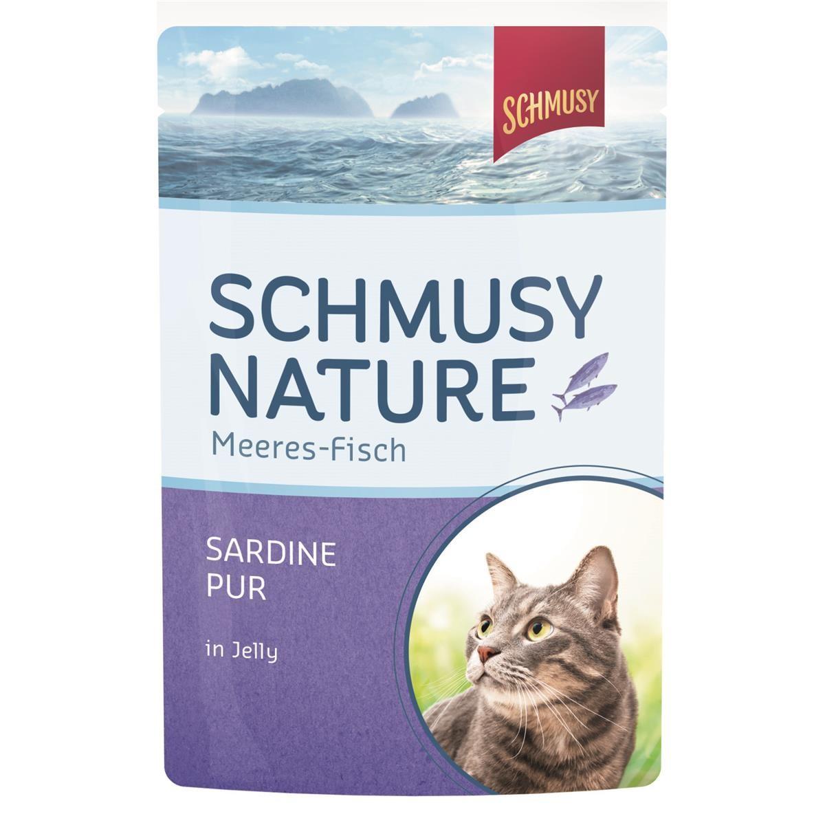 Schmusy Nature Meeres-Fisch Sardine pur 24 x 100g Pouchbeutel